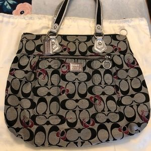 COACH Poppy Large Grey and Red Signature Tote